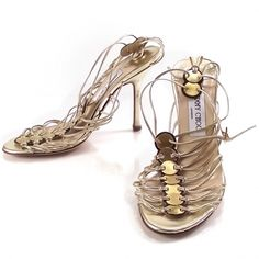 Jimmy Choo - metallic gold nappa medallions; my first ever strappy pair