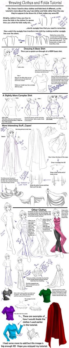 How to draw Clothes tutorial,Manga clothes, Anime Clothes, how to draw fabric, drawing folds, kawaii, girl, Japanese, anime, manga tut by delores