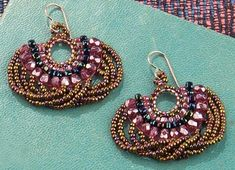 Looplicity Brick Stitch Earrings - step by step pictures Tutorial from Caravan Beads