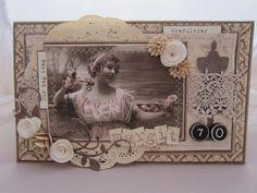 min lille scrappe-verden: Bursdagskort til 70 årig jubilant