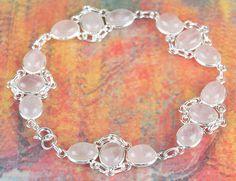 Rose Quartz Jewellery – Lovely Rose Quartz Gems Silver Bracelet BJB-118-RQ – a…