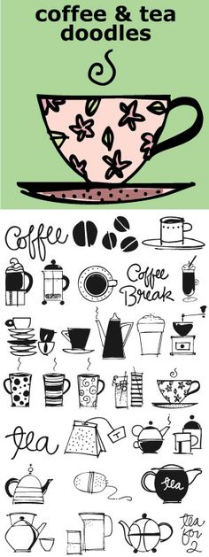 Coffee and Tea Doodles font - perfect set of illustrations for coffee or tea shop menus, ads, invitations, etc. By Outside the Line.