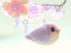 Bird brooch needle felted bird with flowers pin / by NozomiCrafts