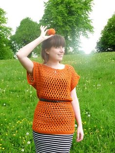knit happens: off the hook: Orange You Glad crochet top Orange You Glad, Ravelry, Knit Crochet, Short Sleeve Dresses, Knitting, Creative, Pattern, Projects, Blog