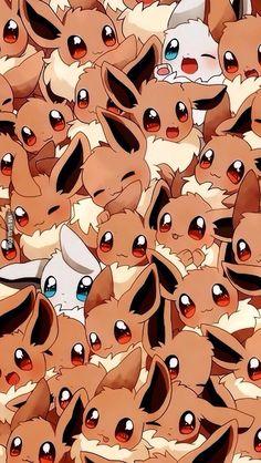 foxypaige: Super Cute Eevee Packed Wallpaper I Found! Pokemon Eevee Evolutions, O Pokemon, Pokemon Fan Art, Pokemon Backgrounds, Cool Pokemon Wallpapers, Cute Cartoon Wallpapers, Animes Wallpapers, Eevee Wallpaper, Wallpaper Iphone Disney
