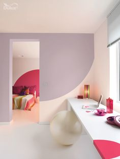 A modernist feel is achieved with the striking Raspberry Bellini creating and alternative bedhead. Dusted Fondant adds a soothing contrast with both colours framed by Jasmine Shimmer, keeping the space light, bright and uplifting.  Featuring Dusted Fondant, Raspberry Bellini and Jasmine Shimmer by Dulux.