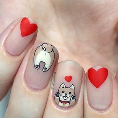 Kawaii Nail Art, Cute Nail Art, Cute Nails, Dog Nail Art, Manicure, Dog Nails, Nail Stamping Plates, Disney Nails, Beautiful Nail Designs