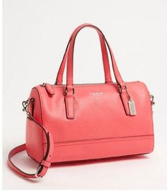 Coach Coral Pink Saffiano Leather Mini Satchel Shoulder Bag $178.00