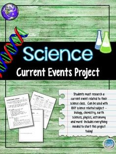 Science Current Events Project - works for any science class!!  Everything needed to get started right away. ($)