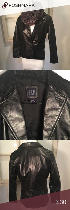 Ladies Gap Black Leather Jacket!!! Sz2 Beautiful soft leather goes with everything lined great for the Fall weather 🍁!Size 2 GAP Jackets & Coats Blazers