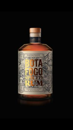 kind of cool how this has the black illustrations, but the gold helps the brand and product name stand out Wine Design, Bottle Design, Label Design, Design Design, Logo Design, Alcohol Bottles, Liquor Bottles, Beverage Packaging, Bottle Packaging