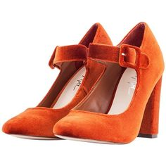 Nasty Gal Orange Velvet Varda Mary-Jane (400 RON) ❤ liked on Polyvore featuring shoes, orange, velvet shoes, thick high heel shoes, nasty gal shoes, mary jane shoes and chunky heel shoes