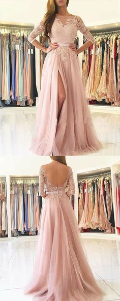 A-Line Pink Tulle Backless Appliques Prom Dress, Prom Dress with Lace Bodice #prom #eveningdresses #lace #dresstells