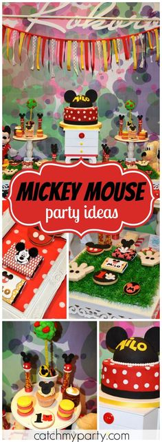 "Mickey Mouse / Birthday """"The Wardrobe of Mickey Mouse"" Milo Birthday"" Mickey Mouse Clubhouse Party, Mickey Mouse Parties, Mickey Party, Mickey Mouse Birthday, 2yr Old Birthday, Baby Boy Birthday, Boy Birthday Parties, Birthday Ideas, Mikey Mouse"