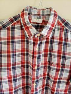 c5d050911 UNIQLO Men's Linen Short Sleeve Red/White/Blue Plaid Shirt Size XL in EUC