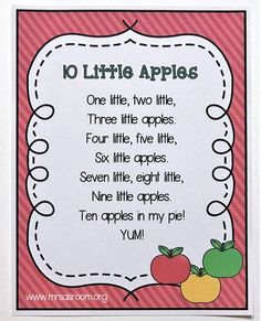 Poetry is a fantastic learning tool in preschool and kindergarten! Come learn how to use it in your classroom with this adorable counting poem that will fit right into your apple theme! - Kids education and learning acts Preschool Apple Theme, Preschool Music, Fall Preschool, Preschool Classroom, Preschool Learning, September Preschool Themes, Preschool Apples, Preschool Printables, Number Songs Preschool