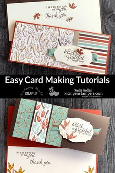 Do you love easy card making tutorials? I've got loads of ideas and beautiful cards to share with you. Check it out at www.klompenstampers.com #easycards #simplecardmaking #cardmaking #greetingcards #handmadecards #stampinup #stampinupcards #jackiebolhuis #klompenstampers Card Making Tips, Card Making Tutorials, Card Making Techniques, Making Tools, Note Cards, Thank You Cards, Leaf Cards, Up Book, Fall Cards