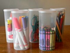 Crystal Lite Containers to hold school supplies