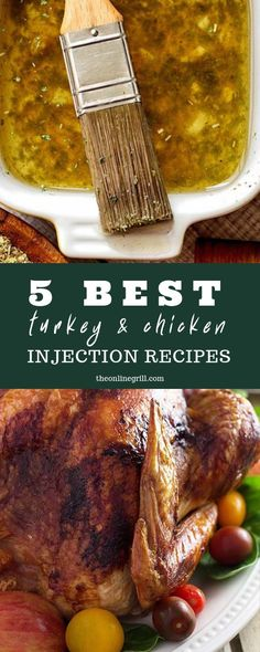 of the best ways to cook beautiful chicken and turkey is to use a good marinade that gets right under the skin of your poultry. Here are 5 of the best turkey and chicken injection recipes for you to take your meat prep to the next level. Chicken Injection Recipes, Meat Injection Recipe, Turkey Injection Marinade, Turkey Marinade, Chicken Marinades, Marinade Chicken, Turkey Injector Marinade Recipe, Meat Marinade, Barbecue Recipes