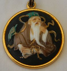 Vintage Toshikane Arita Porcelain Japan God of Fortune Jurojin God of Longevity Pendant