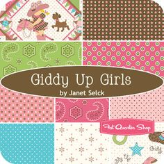 Girls Giddy Up Fat Quarter Bundle Janet Selck for Northcott Fabrics - Fat Quarter Shop