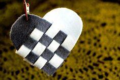 Szőtt dán Szív kosarak