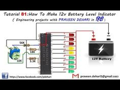 How To Make Battery Level Indicator in हिंदी) Basic Electronic Circuits, Electronic Circuit Design, Electronic Schematics, Electronic Engineering, Simple Electronics, Electronics Basics, Electronics Projects, Car Audio Battery, Battery Charger Circuit