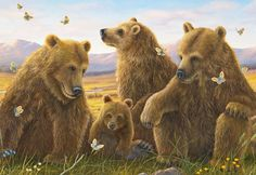 """Living Joy"" by artist, Robert Bissell.  This limited edition canvas print is ONLY AVAILABLE through Lahaina Galleries (the image size is 22x32)  Description: Three adult bears and a baby cub sitting in the sun amongst a bunch of playful yellow butterflies. for info or to see a framed version, email us at: lgi@maui.net or visit website."