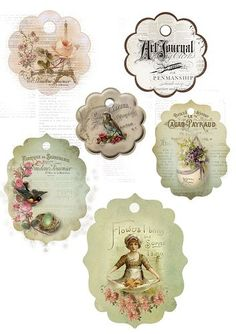 Decoupage my trunk: Some vintage jewelry. Vintage Tags, Vintage Labels, Vintage Ephemera, Vintage Paper, Vintage Prints, Vintage Style, Decoupage Vintage, Printable Tags, Printable Paper