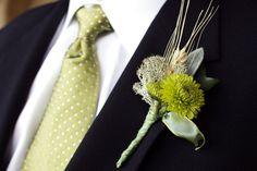 Green, Brown, Wedding, Boutonniere, Fall