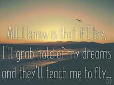 All I know is that if I try, I'll grab hold of my dreams and they'll teach me to fly. Poetic words by Carly Llewellyn-Ryan.