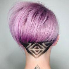 Pastel Purple Bob With Nape Hair Tattoo