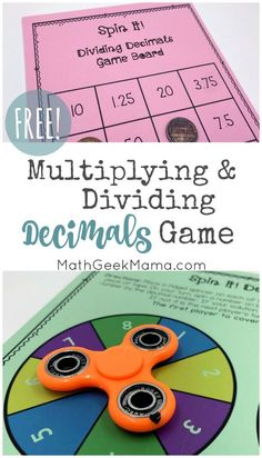 This game provides fun practice with decimals and is great for kids who love to use their fidget spinner! With this easy print and play game, kids will work on multiplying and dividing whole numbers with decimals. Plus, with blank game boards you can crea Easy Math Games, Printable Math Games, Math Board Games, Math Games For Kids, Game Boards, Kids Fun, Kids Math, Abc Games, Learning Games