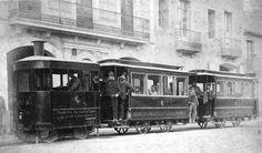 Tramvia de vapor de Barcelona a Sant Andreu de Sociedad Anónima de Tranvías de Barcelona (ca. 1880)- Bereshit: la reconstrucció de Barcelona i altres mons: L'estació del tramvia de foc