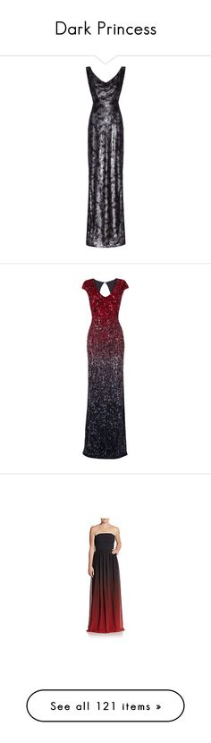 """""""Dark Princess"""" by emilykahl ❤ liked on Polyvore featuring dresses, gowns, long dresses, black dress, long sequin dress, black mini dress, long black dress, evening gowns, long evening dresses and blue cocktail dress"""