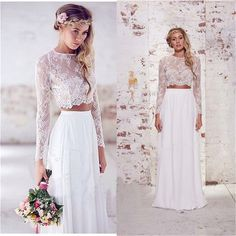 Fenghuavip Long Sleeves Lace White Chiffon 2 Pieces Bride Wedding Dress (8)