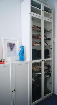 Ikea Billy book case white and glass shoe closet - Ikea hack - Walk in closet -Tatiana's Delights - Foo dog