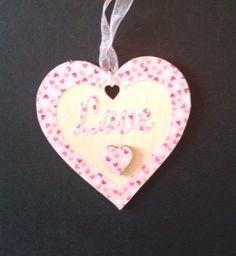 """Love"" hanging wooden heart £4.00"