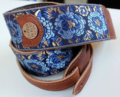 Golden Leaf Leather Embroidered Guitar Strap by COPPERPEACE