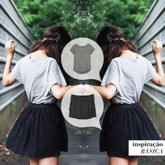 Porque as vezes a gente precisa de roupas tão leves e soltas como o nosso estado de espírito. #inspiracaobasica #tshirtnewyork cinza #saiabarbados preta #basicoéveravidademaneiraleve