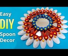 Recycled DIY Projects: How To Make Plastic Spoons & Mirror Wall Decor (Recyclart) Plastic Spoon Mirror, Plastic Spoons, Crafts To Do, Diy Crafts, Diwali Decorations, Diy Recycle, Cardboard Crafts, How To Make Diy, Recycled Crafts