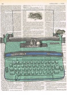 Retro typewriter in turquoise; blue; green ' Smith-Corona'; repurposed antique book pages.