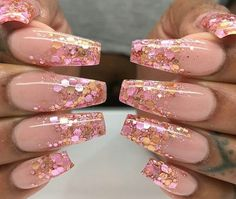 Gorgeous pink glitter nails