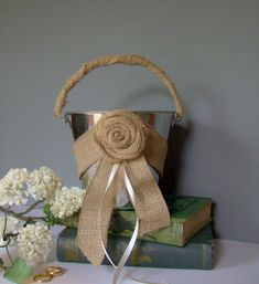 Flower Girl Basket Pail RusticBurlap Wedding by TwiningVines, $30.00