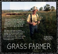 "#16. ""Grass Farmer"". Joel Salatin, Polyface Farms. Swoope, VA. Information artwork by Douglas Gayeton for the Lexicon of Sustainability project."