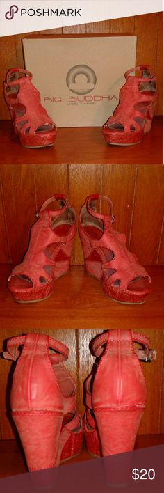 Big Buddha Fun Coral Wedge Sandals In great condition, very cute & comfortable.   Salmon color.  4.5 inch heel, 1.5 inch platform. Distressed faux leather, round open toe.  Cushioning insole. Big Buddha Shoes Wedges