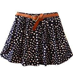 Navy Belt Hearts Print Cotton Skirt