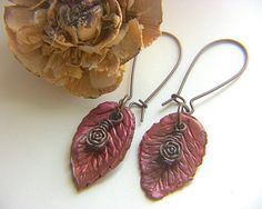 Red Earrings Rust Earrings Floral Earrings Leaf by BayMoonDesign