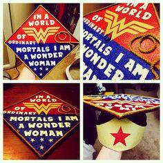 Jordan Hubbert's Wonder Woman Graduation Cap! <<<Hands down the best graduation cap I've ever seen.