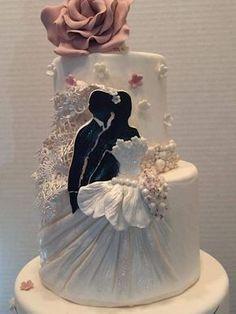 Luxury Wedding Cake, Wedding Dress Cake, Wedding Cake Designs, Wedding Cupcakes, Gorgeous Cakes, Pretty Cakes, Silhouette Cake, Bridal Shower Cakes, Engagement Cakes